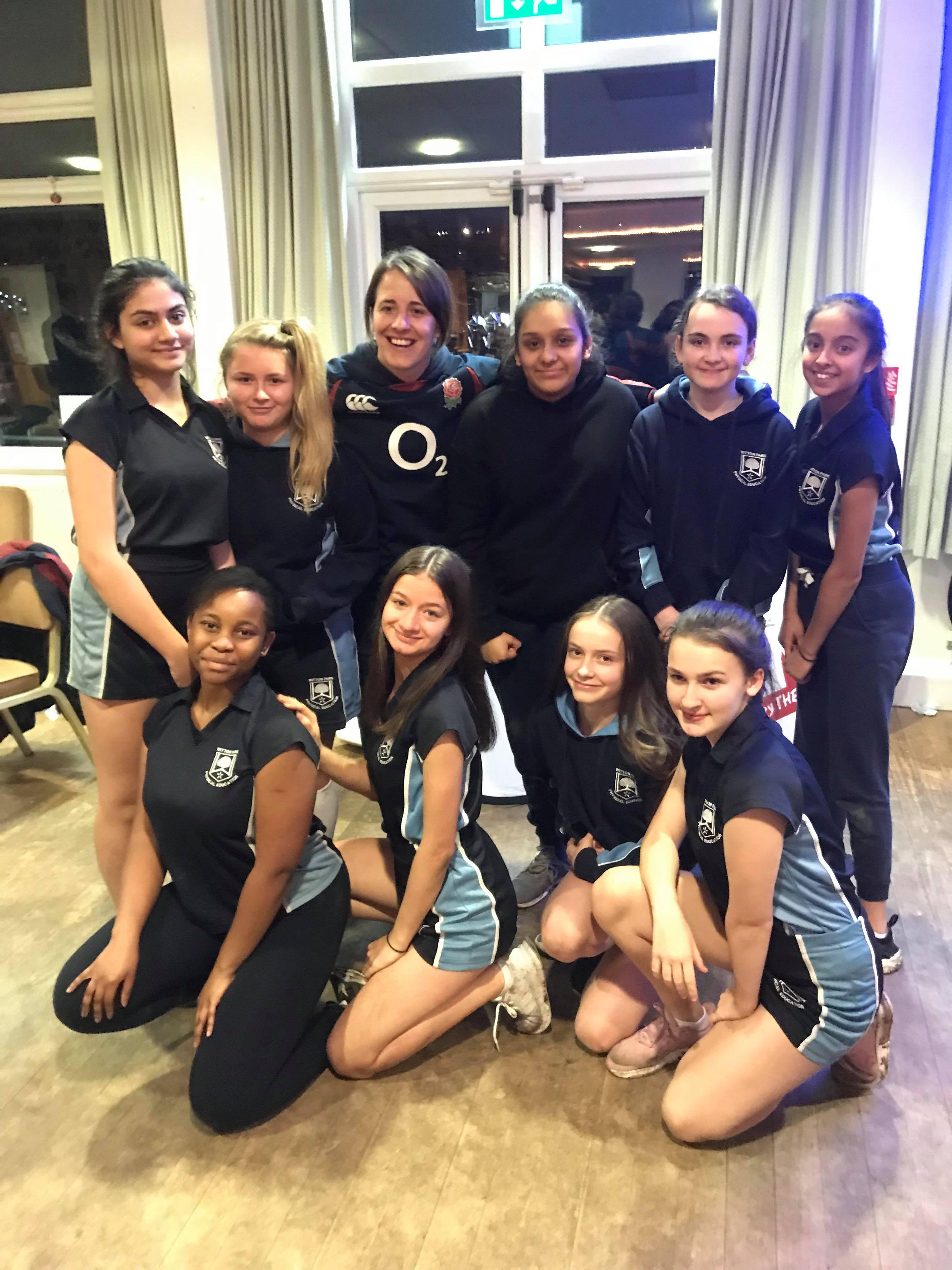 U15's girls Rugby team met Katie Dale McClean former England World Cup captain